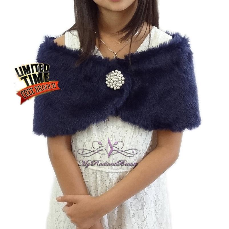 زفاف - Faux Fur Wrap, Girl Fur Shawl, Navy Blue Faux Fur Stole For Flower Girl, Wedding Fur Shrug, Kid Fur Stole, Fur Wrap, Fur Shrug KW108-NBLUE