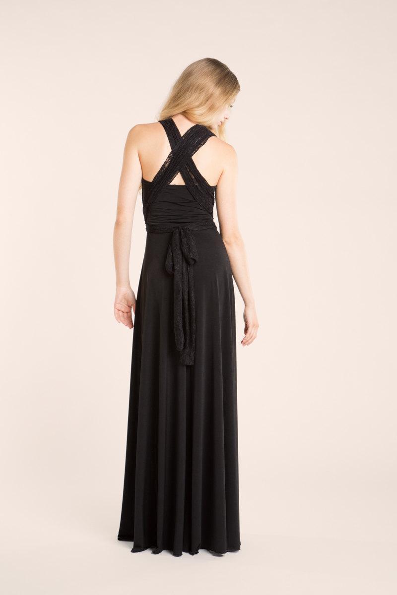 Mariage - Vintage inspired black lace dress, long black dress, classic lace dress, elegant maxi dress, bridesmaid dress, evening dress, infinity dress