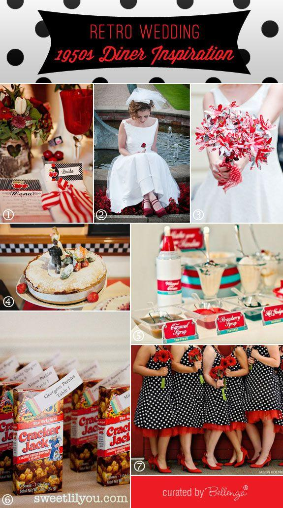 Retro wedding theme 1950 s diner inspiration board for 50 s decoration ideas
