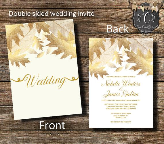 Mariage - Gold Wedding Invitation, Gold Leaves Invitation,Fall Wedding invitation,Double sided invitation,Elegant Fall Invitation, Printable, Printed