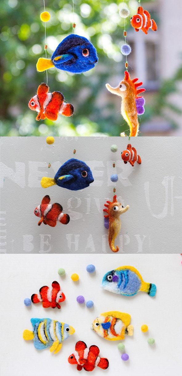 Finding Dory Baby Mobile Needle Felted Fish Nursery Decor Funny Shower Gift For Kids Crib Decoration
