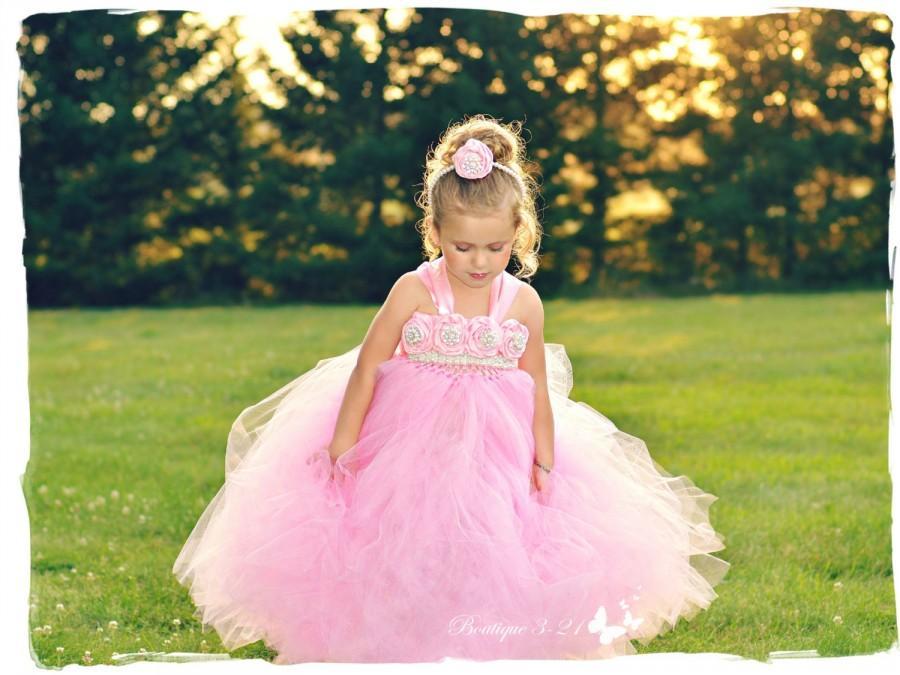 Mariage - Pink Flower Girl Dress, Pink tutu dress, Pink Birthday Dress, Pink Vintage Dress, Pageant Dress