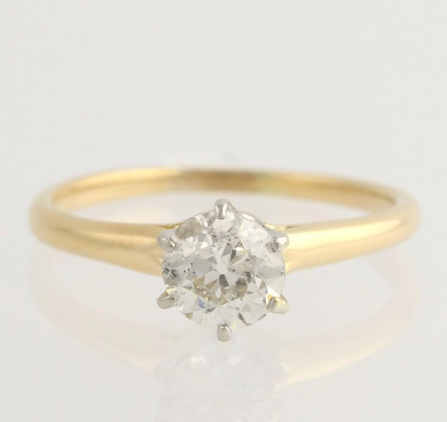 Mariage - Engagement Ring Edwardian Diamond - 18k & Plat .81ctw European Cut Solitaire Unique Engagement Ring L3621