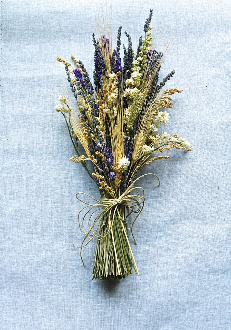 زفاف - Summer Wedding  Brides Bouquet of Lavender Larkspur Wheat and other dried flowers