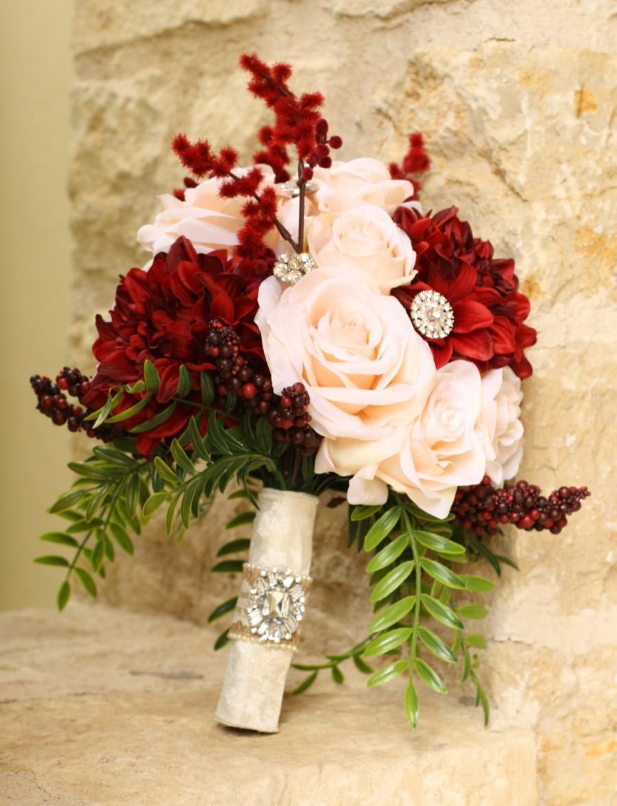 Mariage - Fall Wedding Bouquet Burgundy Peach Blush Large Alternative Keepsake