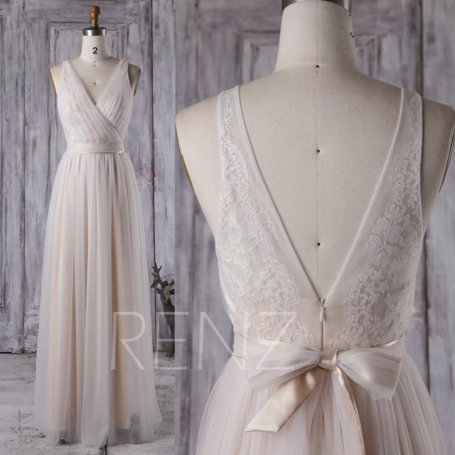 2016 off white champagne bridesmaid dress v neck lace for Lace maxi wedding dress