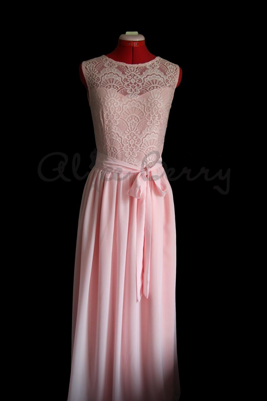 Blush Bridesmaid Dress Lace Pale Pink Pastel