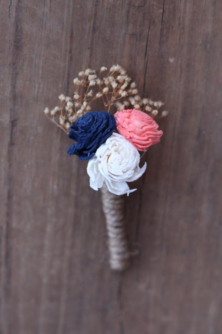 Свадьба - Navy Blue Coral Boutonniere, Navy Coral buttonhole, blue coral boutonniere, wedding flowers