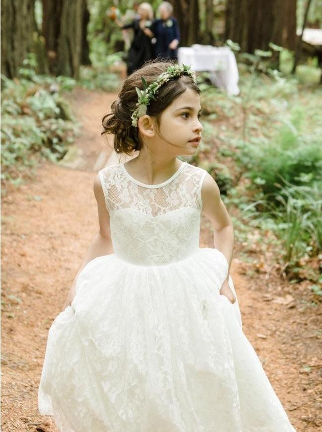 Light Ivory Lace Flower Girl Dress, Ivory Flower Girl Dress, Ivory ...