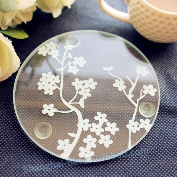Mariage - 欧式小礼物 婚庆喜庆用品Beter Gifts圆形日式樱花透明杯垫BD012