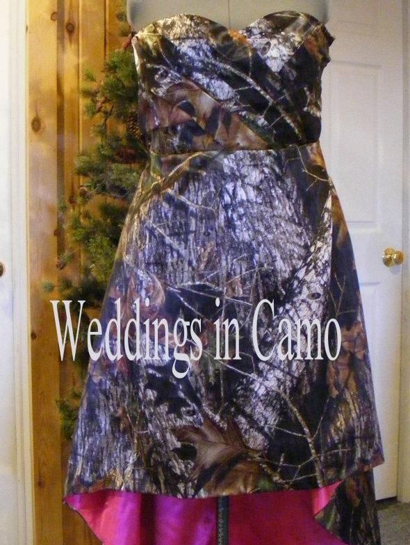 Wedding - CAMO dress+high low hemline+corset back+camo and solid color options