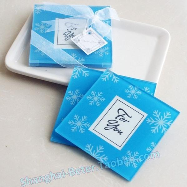 زفاف - 单身淑女派对 餐桌布置 创意婚礼小礼物BD037蓝色雪花小相框杯垫