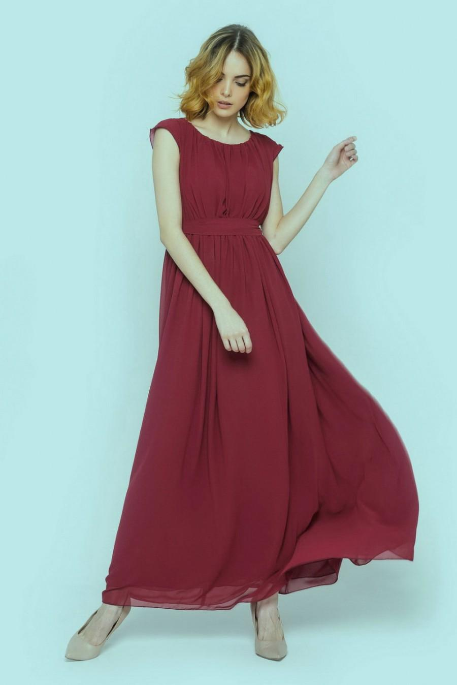 Boda - Marsala bridesmaid dress,Evening dress, Chiffon long dress, Flared sleeveless dress,Formal maroon dress,Bridesmaid long dress,Burgundy dress