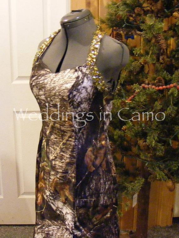 Hochzeit - CAMO Beaded PROM formal dress open back with slit