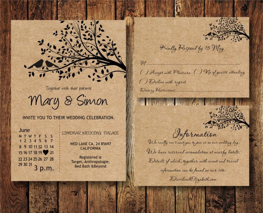 Wedding Invitation Suite Template With Birds On A Tree Kraft Paper