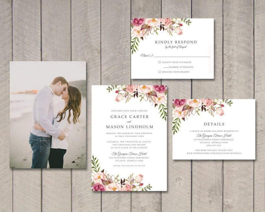 Floral Wedding Invitation, RSVP, Details Card (Printable) By ...