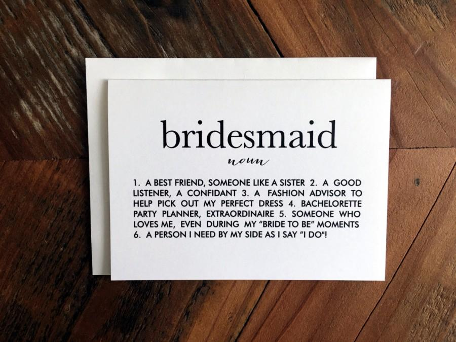 picture regarding Maid of Honor Printable Planner called Will Oneself Be My Bridesmaid Card, Bridesmaid Definition Card