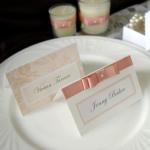 Wedding - Romantic Pink Rose Wedding Name card / Place card / Escort card (Qty 100) - custom made