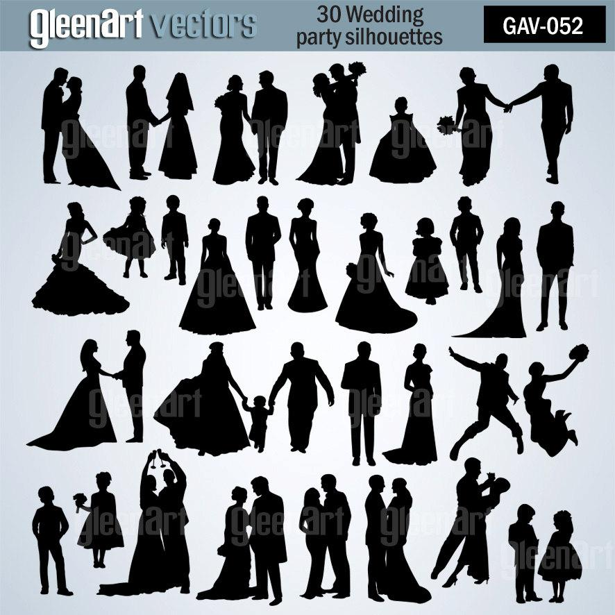 50 off sale 30 wedding silhouettewedding party clipart