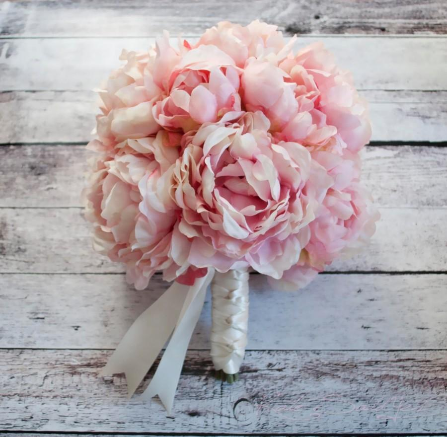 Свадьба - Pink Peony Bouquet - Blush Pink Peony Wedding Bouquet