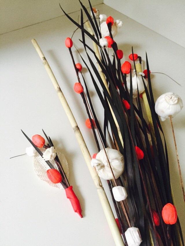 Wedding - Red White and Wow Long and Lean Reeds Bouquet with matching Boutonnière