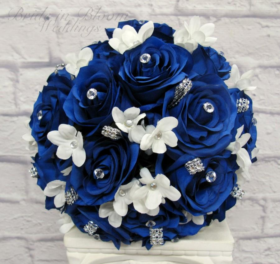 Wedding Bouquet Royal Blue Rose Brides Silk Bridal Flowers