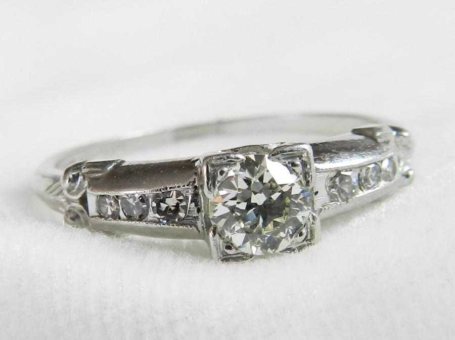 Mariage - Engagement Ring Antique Platinum Ring Art Deco Engagement Ring 1920s Platinum Diamond Engagement .52 Ct tdw Platinum Ring Diamond Ring