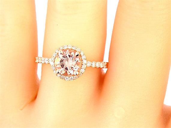 Mariage - 14K Rose Gold Diamond Round Morganite Engagement Ring Wedding Ring Art Deco Ring Antique Ring Promise Ring Pave Ring Yellow Gold White Gold