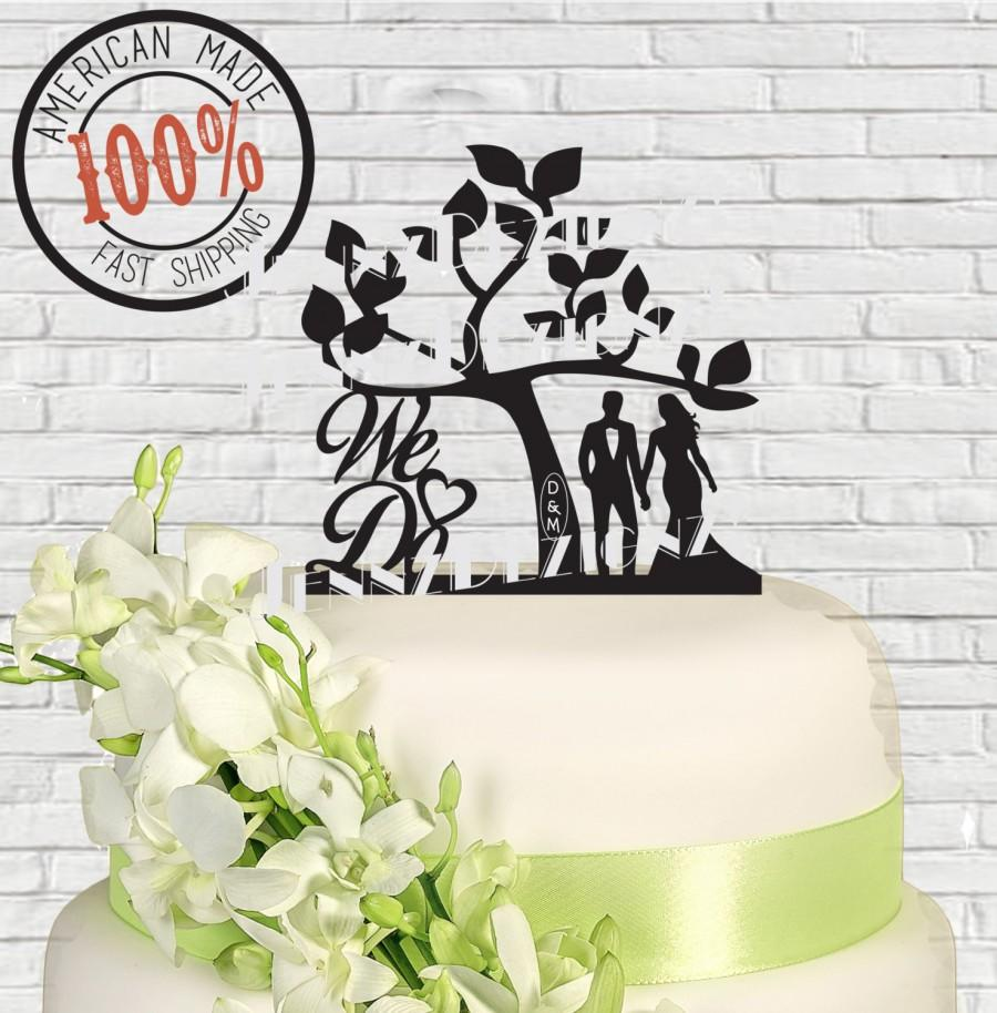 Wedding - Silhouette Couple We Do Heart with Carved Initials In Tree  Wedding Cake Topper  Made in USA
