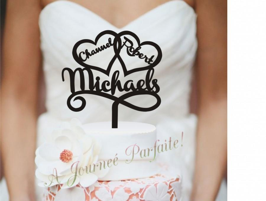 Mariage - Mr & Mrs Wedding Cake Topper Personalized with First and Last Names - Custom Topper, Choice of 50 colors [AJP27]