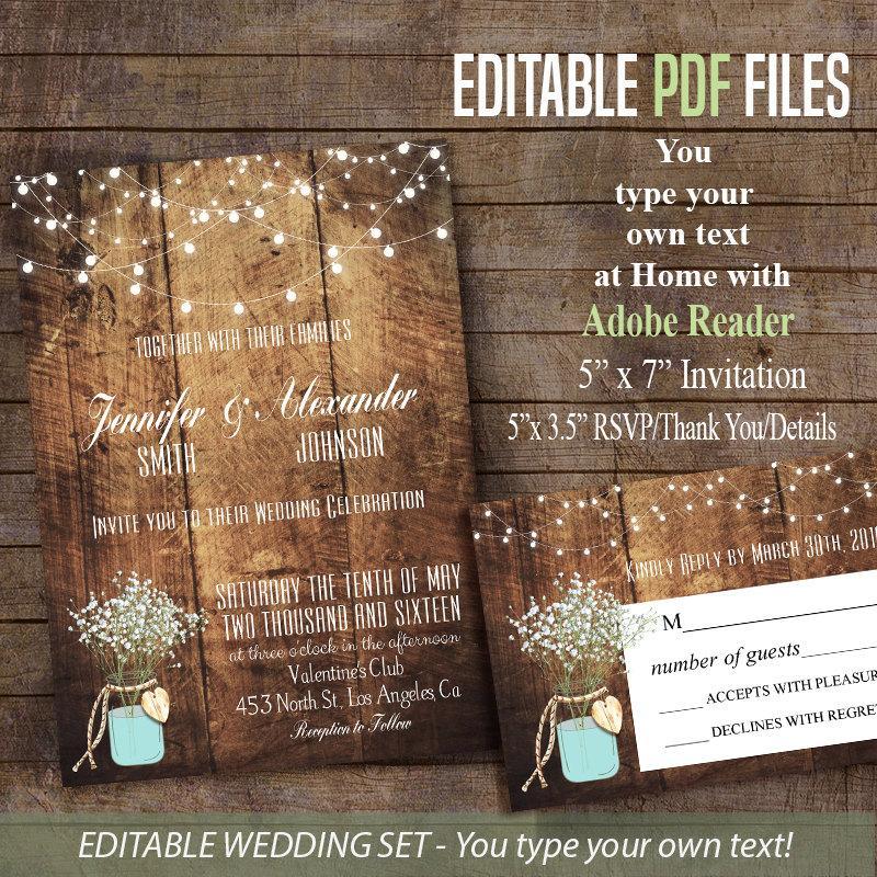 Printable Wedding Invitation, Wedding Suite, Baby's Breath & Mason