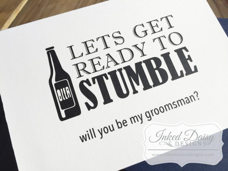 Beer groomsman card funny will you be my groomsman best man card beer groomsman card funny will you be my groomsman best man card get ready to stumble card usher card wedding card wedding party card junglespirit Images