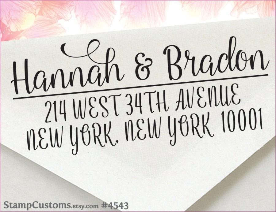 زفاف - Address Stamp - Custom Return Address Stamp - Calligraphy Wedding Stamp - Self-inking address stamp 4543