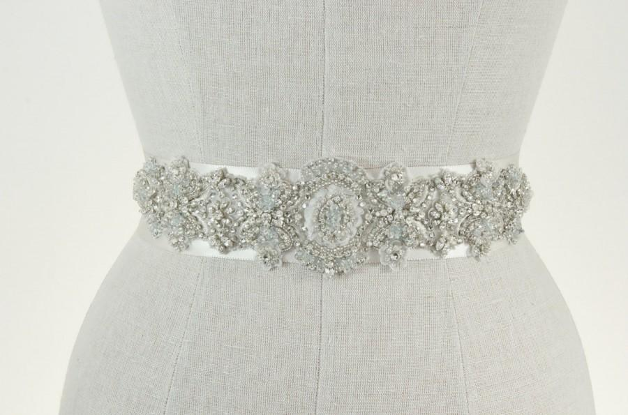 Mariage - Bridal Belt, Beaded Wedding Sash, Something Blue Rhinestone & Crystal Silver Vintage Applique, Art Deco Accessories, Camilla Christine SARAH