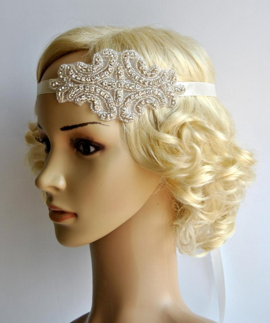 Mariage - Crystal Headband,Rhinestone flapper Great Gatsby Headband, Wedding Bridal Headband Headpiece, Halo Bridal Headpiece, 1920s Flapper headband