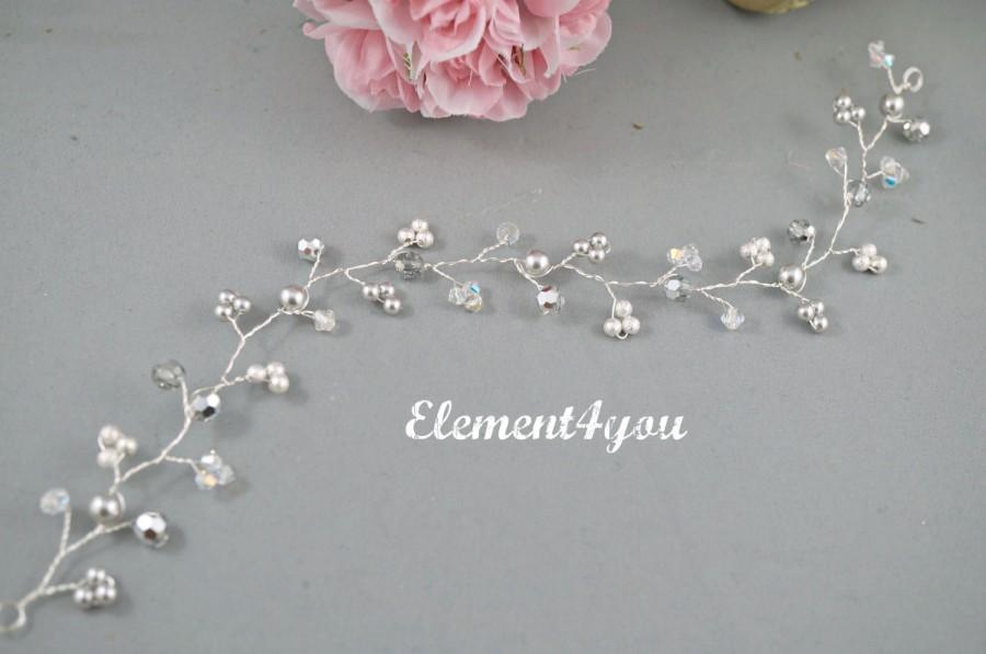 Hochzeit - Bridal hair vines, Wedding hair accessory, Silver elements, Pearls crystals hair vines, Unique, Bridal hair piece, Bridal hair do