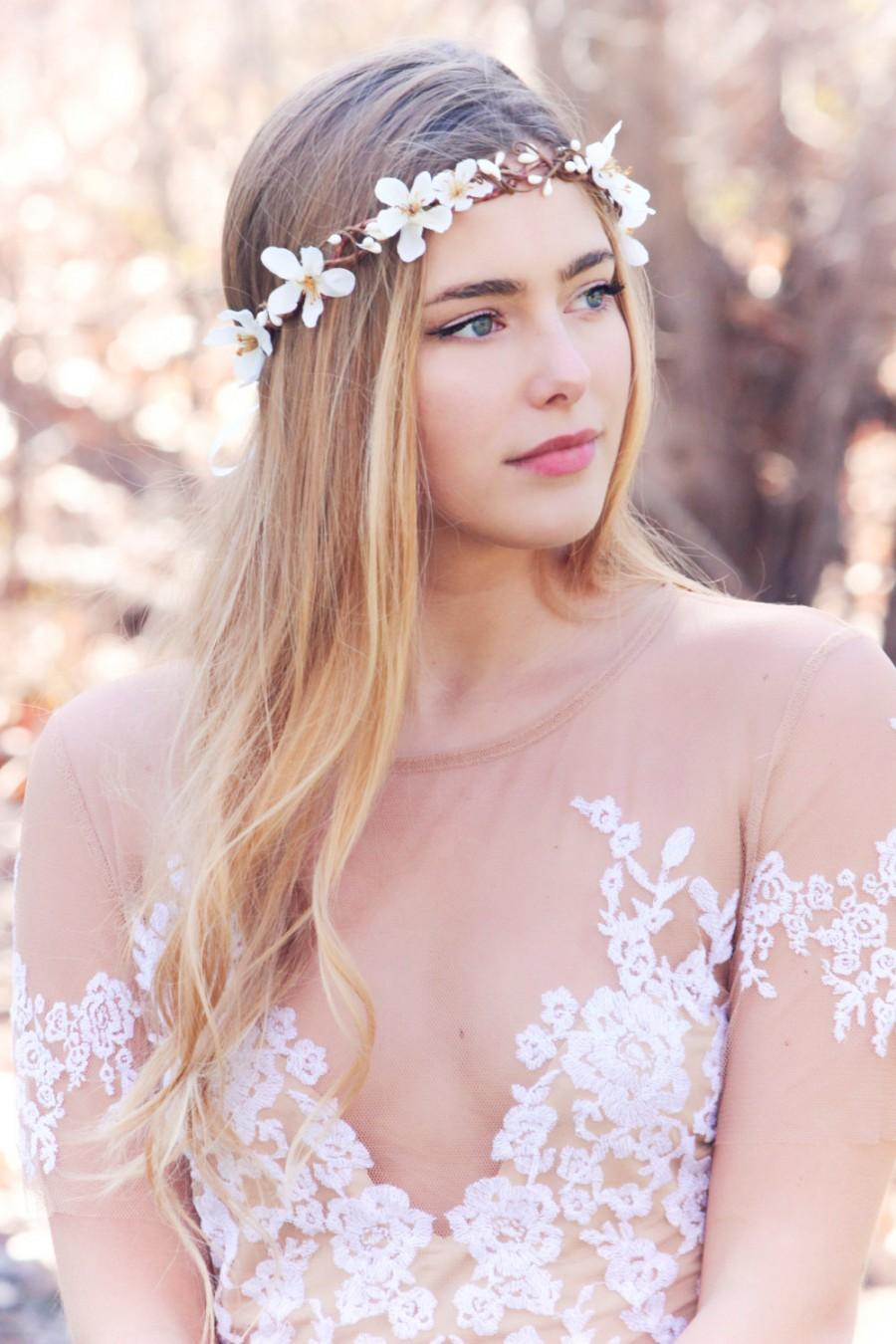 White Apple Blossom Boho Wedding Wreath Bridal Flower Crown Bridal