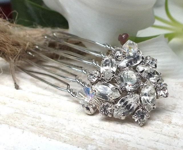 Свадьба - Diamanté Hair decoration, rhinestone hair comb, vintage inspired suitable for Bride Or Bridesmaid, small,petite,silver