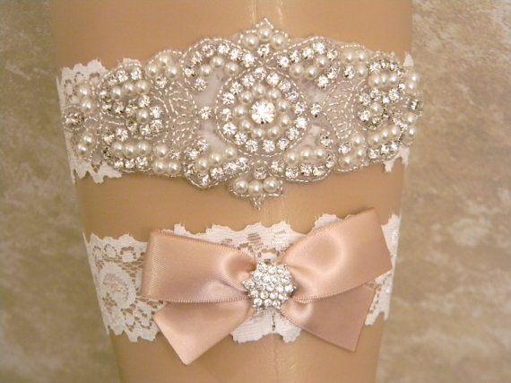 زفاف - Champagne Wedding Garter Set, Bridal Garter, Pearl And Rhinestone Garter And Toss Garter Set, Light Ivory Lace Garter Set, Lace Garters