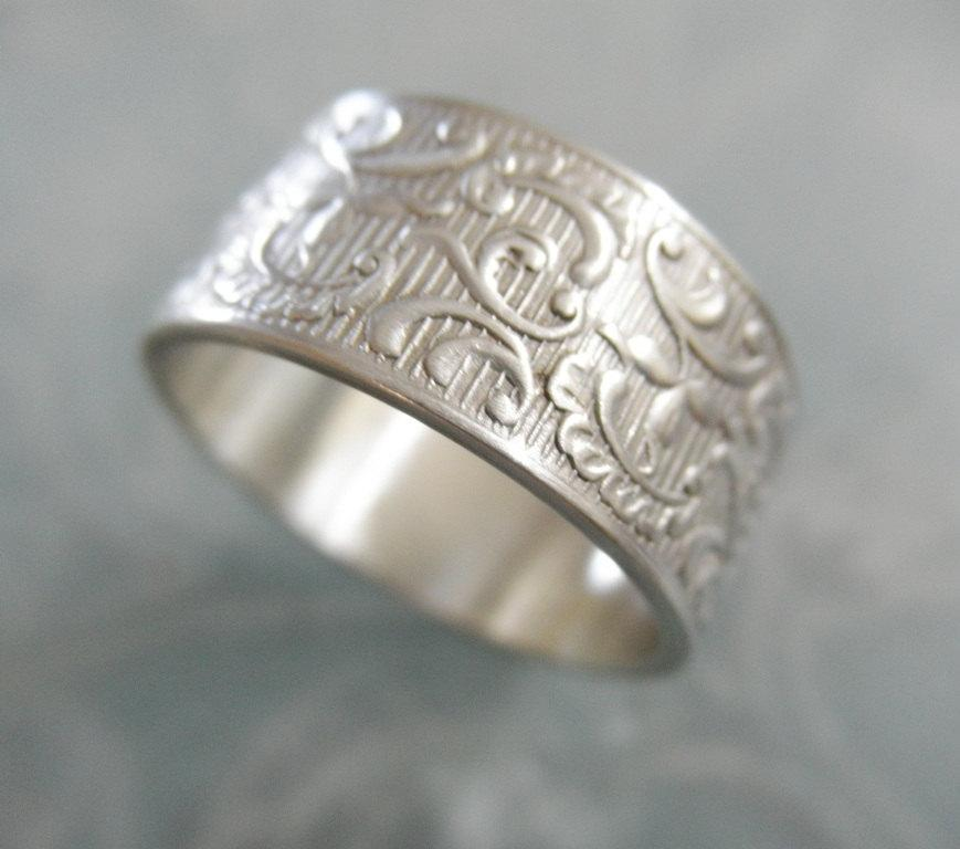 filigree sterling silver wedding ring victorian wedding band ring for her ring for him wedding band - Silver Wedding Rings For Her