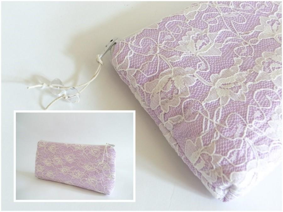 Свадьба - Lavender Blush Lace Clutch, Satin and Lace Wedding Clutch, Romantic Purse for Bride, Orchid Pink Bag