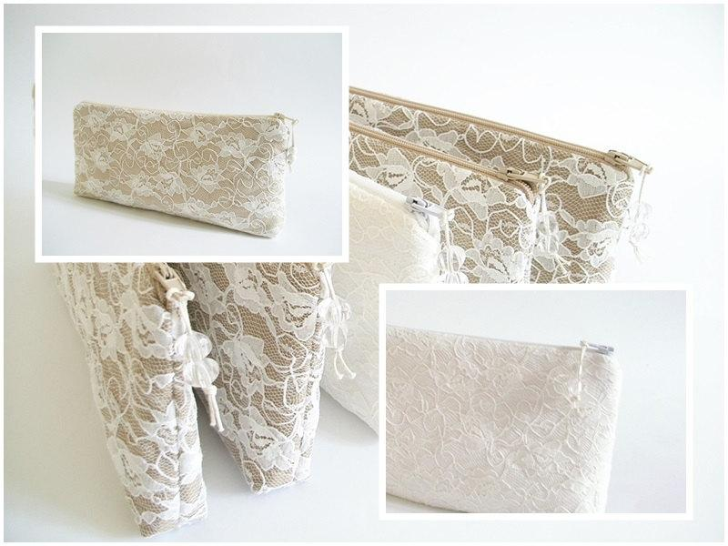 Hochzeit - Lace Wedding Clutches, Set of 5, Nude Bridesmaids Bags, Ivory Bridesmaids Bags