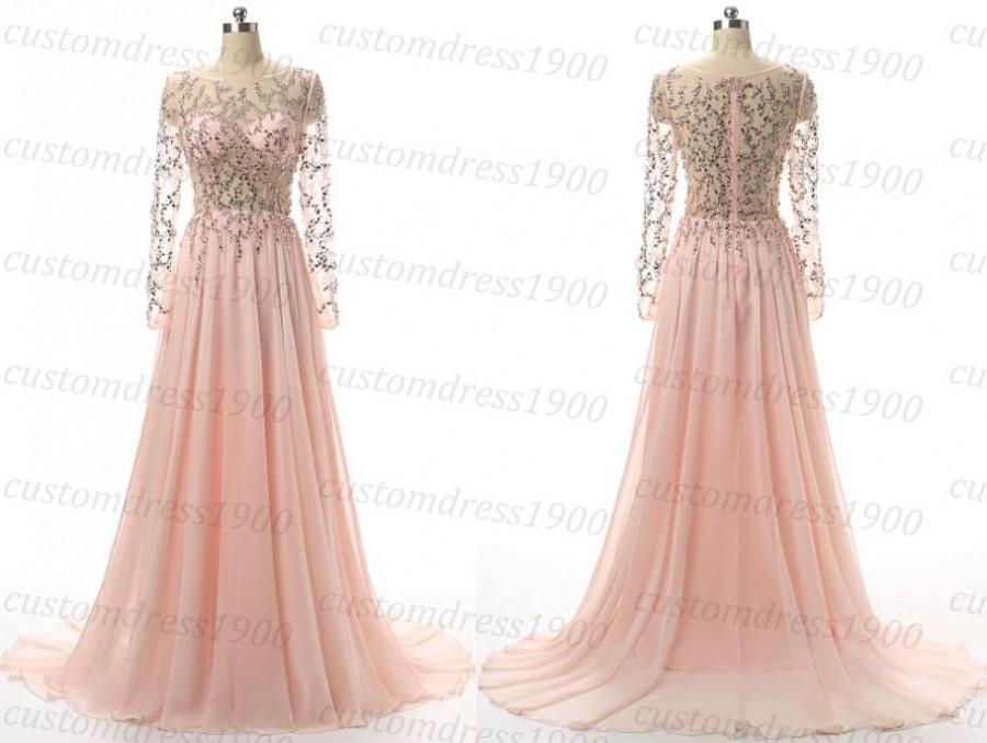 Hochzeit - Long pink prom dress,handmade beading chiffon long sleeves formal women dress,long wedding party dress pink dresses