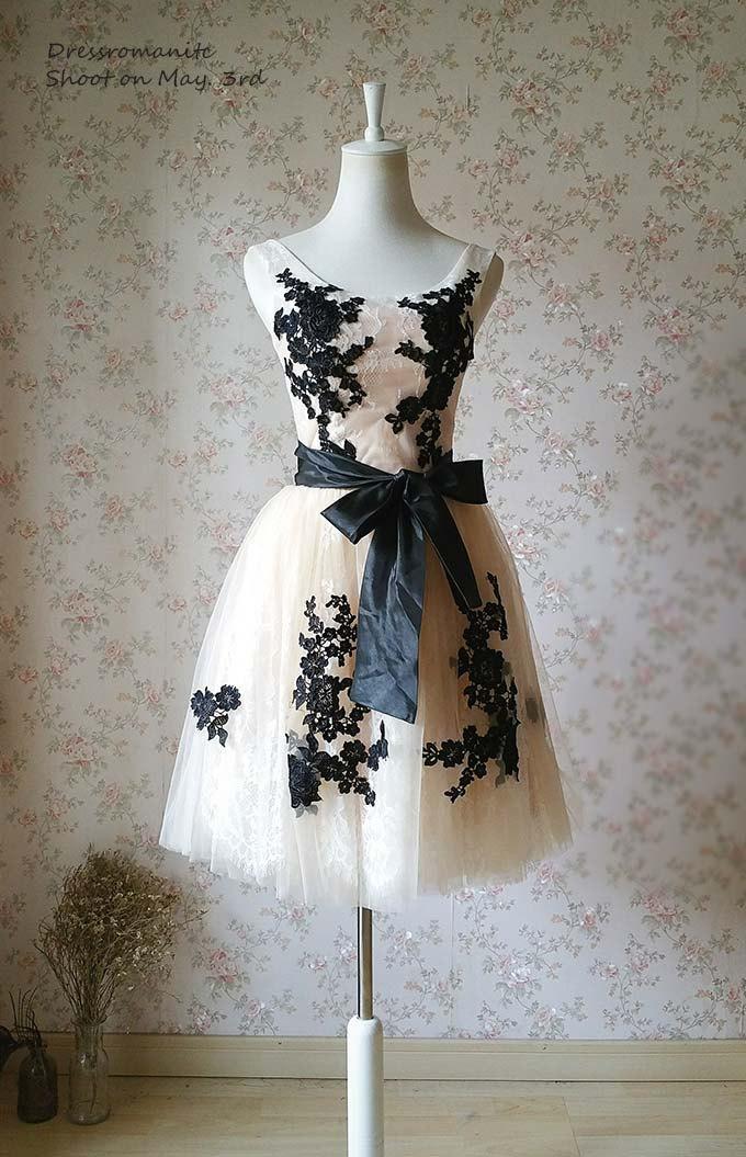 زفاف - Ivory Bridesmaid Dress Lace Tulle Bridesmaid Dress Short Knee Length Wedding Dress Prom Dress. Flower Embroidery Custom Romantic(WD19)