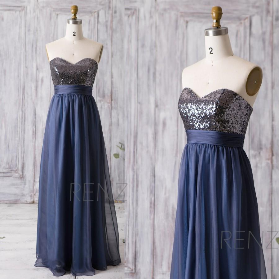 زفاف - 2016 Navy Blue Bridesmaid Dress Long, Sweetheart Sequin Wedding Dress, Chiffon Prom Dress, Strapless Formal Dress Floor Length (ZQ068)