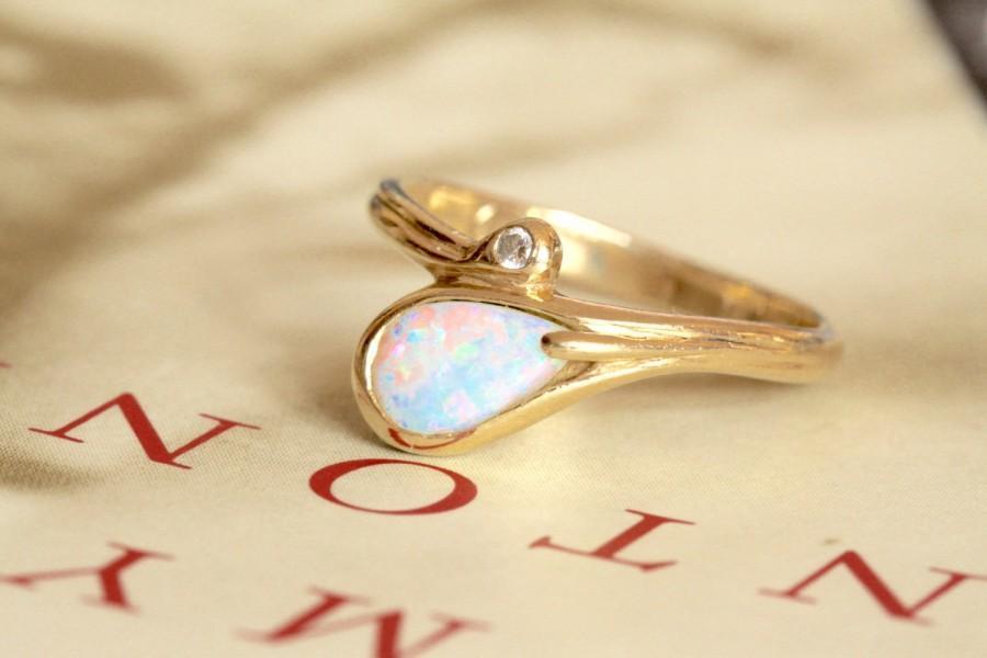 Свадьба - Opal Diamond Ring, Vintage Snake Bypass Ring, 14k Gold Vintage Art Nouveau Alternative Engagement Ring, Australian Opal Cocktail Ring
