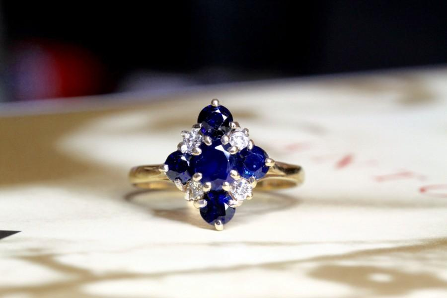 Свадьба - Vintage Sapphire Diamond Engagement Ring, Natural Sapphire Diamond Cluster Ring, Sapphire Alternative Engagement Ring Unique Engagement Ring