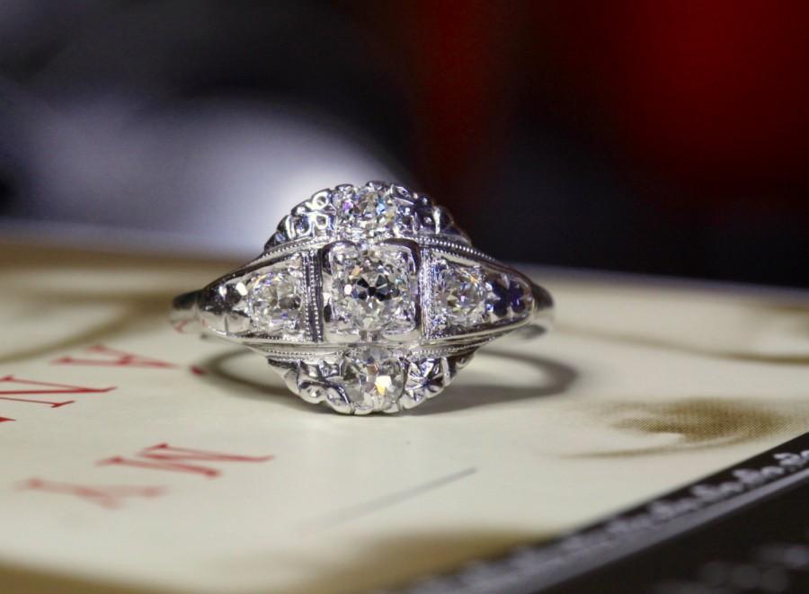 زفاف - Art Nouveau Diamond Engagement Ring, Edwardian Engagement Ring, 14k White Gold Platinum Antique Engagement Ring, Art Nouveau Engagement Ring