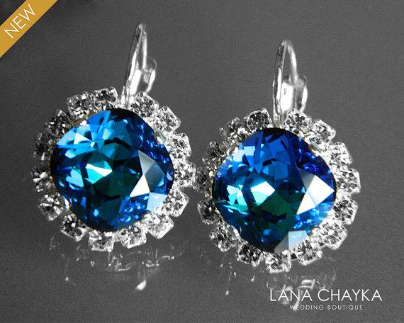 Свадьба - Bermuda Blue Crystal Earrings Swarovski Blue Rhinestone Leverback Earrings Peacock Halo Earrings Bermuda Blue Silver Bridal Earrings Wedding