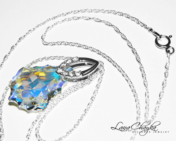 fa2421bfb277 Aurora Borealis Baroque Crystal Necklace Swarovski Crystal Pendant Sparkly Crystal  Sterling Silver Cz Bridal Necklace Wedding Jewelry